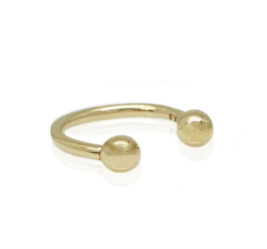 עגיל זהב לבן פרסה כדורי| עגיל זהב פירסינג גדול