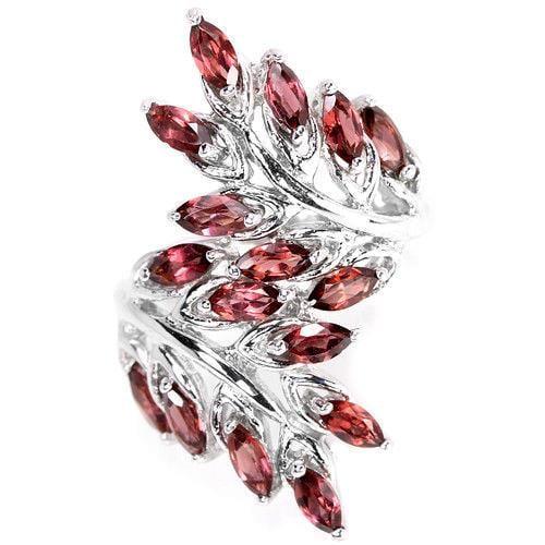טבעת כסף בצורת עלים משובצת אבני גרנט RG5621 | תכשיטי כסף 925 | טבעות כסף