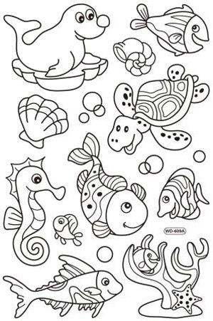 מדבקות חלון - חיות ים (609 A+B)