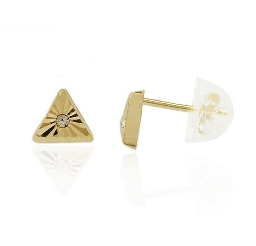 עגילי זהב פירמידה עם זרקונים