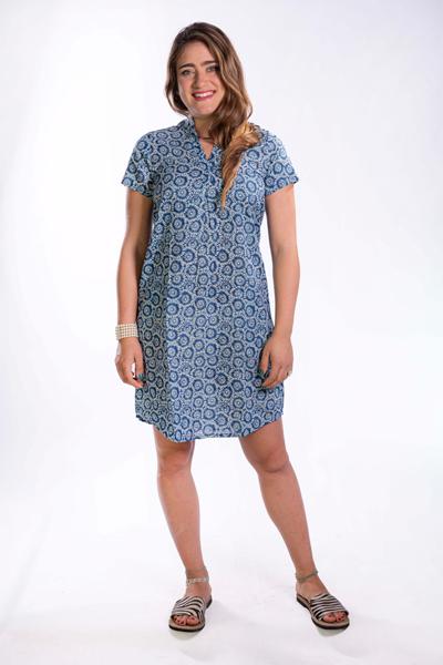 שמלת גלביה קצרה כחול בהיר