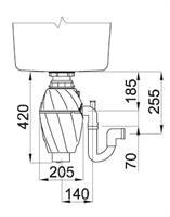 טוחן אשפה ELLECI אלצי תוצרת איטליה 1HP - כולל מפסק פנאומטי - הגנה אנטיבקטריאלית למניעת ריחות