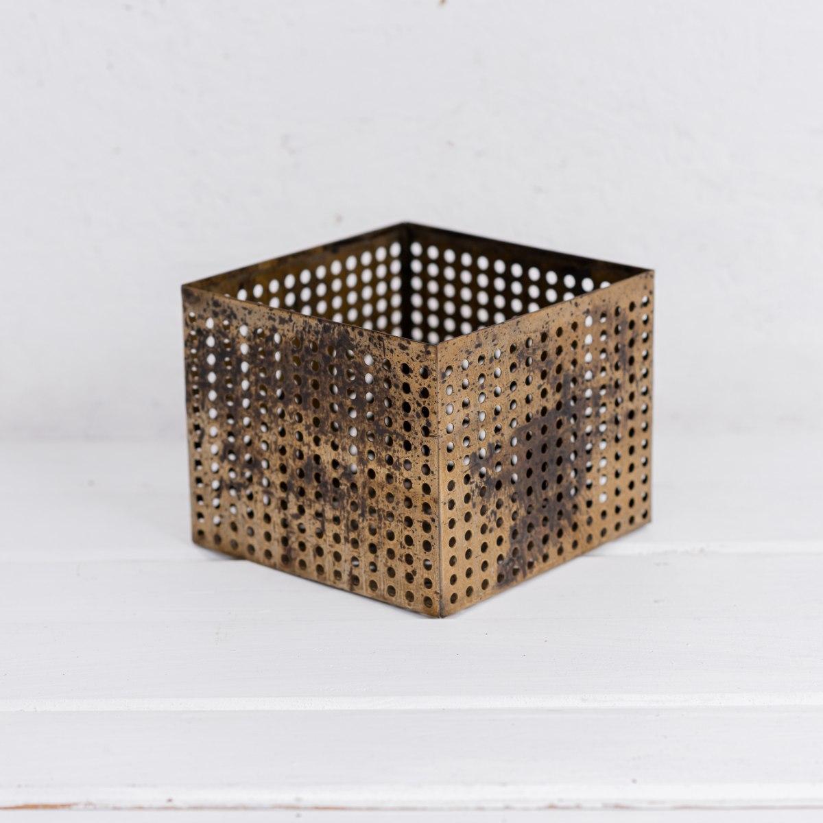 קופסה פתוחה / כלי ממתכת מרובע - זהב L