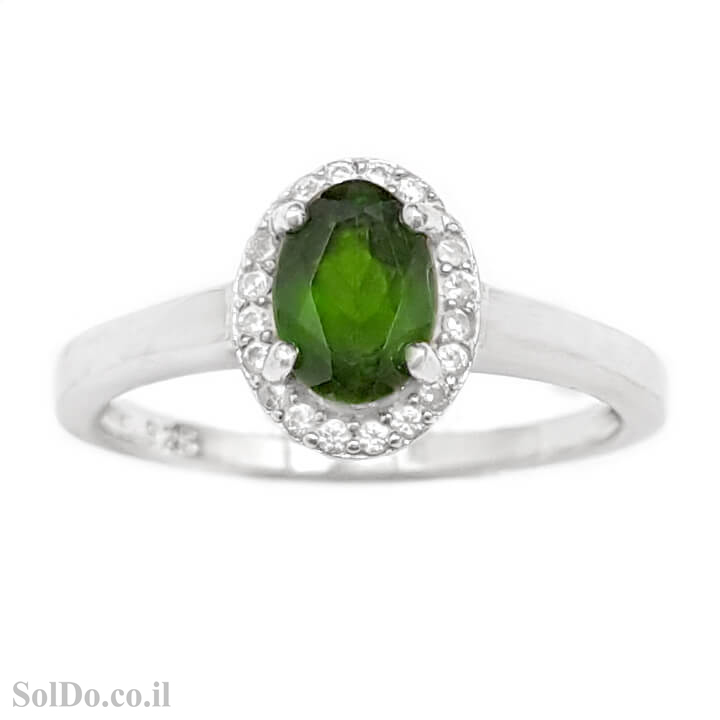 טבעת כסף משובצת אבן כרום דיופסיד וזרקונים RG1655 | תכשיטי כסף 925 | טבעות כסף