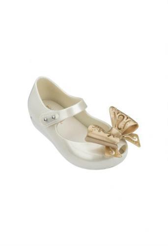 נעלי בובה לבן פנינה עם פפיון MINI MELISSA