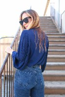 חולצה מכופתרת שרוולי פליסה כחול
