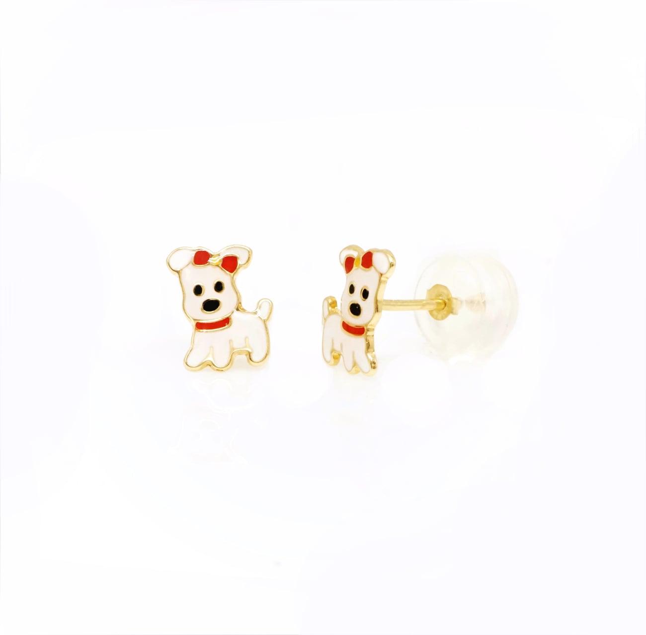 עגילי כלבלב עגילי ילדות פאפי עגילים בסגנון כלב