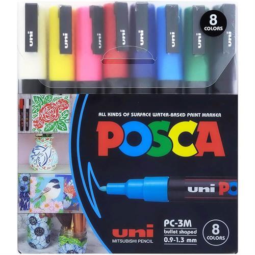 סט טושים 8 צבעים - POSCA 3M