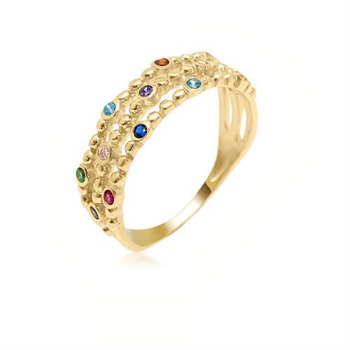 טבעת זרקונים צבעוניות בזהב 14 קרט|טבעת זהב רחבה