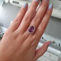 טבעת אמטיסט ויהלומים 0.30 קראט משובצים בזהב 14 קרט