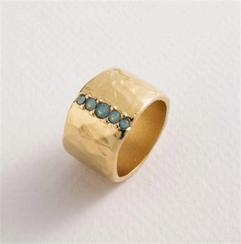 טבעת GORGE רחבה - 5 אבנים