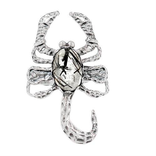 טבעת מכסף עקרב משובצת אבן טורמלין קוורץ  RG5884 | תכשיטי כסף 925 | טבעות כסף