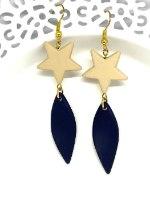 עגילי כוכב בקרם וכחול כהה