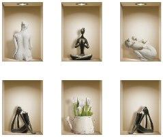 שישיית מדבקות נישה כוורת עם פסלים שחורים ולבנים דגם 660