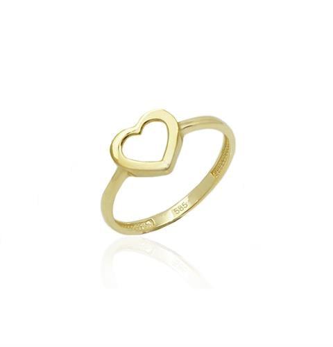 טבעת זהב לזרת| טבעת לזרת| טבעת לב חלול לזרת