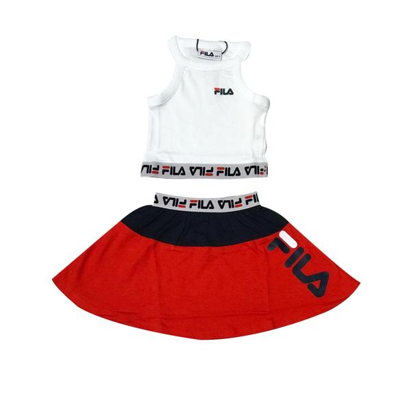 חליפת טופ לבן וחצאית אדומה - FILA - מידות 4 עד 16 שנים