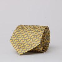 עניבה משי מודפס צהוב / אפור