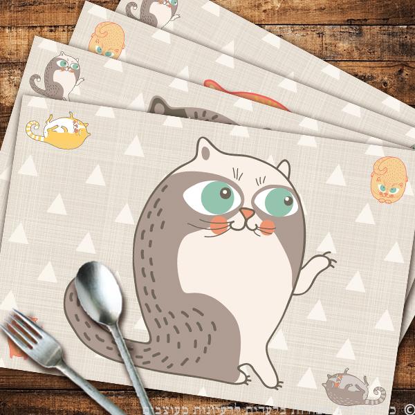רביעיית פלייסמנטים חתולים מצוירים | פלייסמנט | ראנר | מתנה | רעיונות למתנות | מתנה לגננת