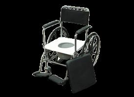 כסא רחצה ושירותים מנירוסטה עם הנעה עצמית