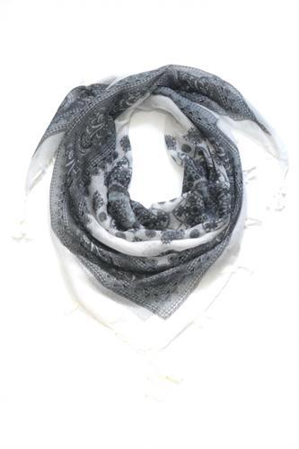 צעיף משולש קורטני-לבן שחור