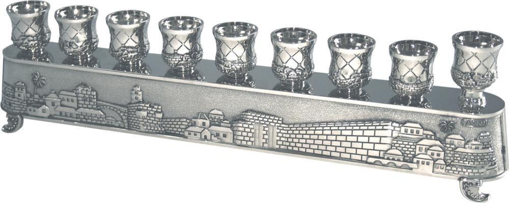 """""""חנוכיית הקסם"""" של ארט - חנוכייה מתהפכת ומשמשת גם לפמוטים גימור ניקל בעיצוב """"ירושלים"""""""