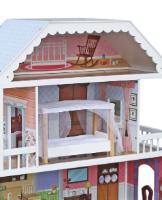 W06A218 - בית בובות לילדות מעץ שלוש קומות וקומת גג, דגם מורן, צעצועץ