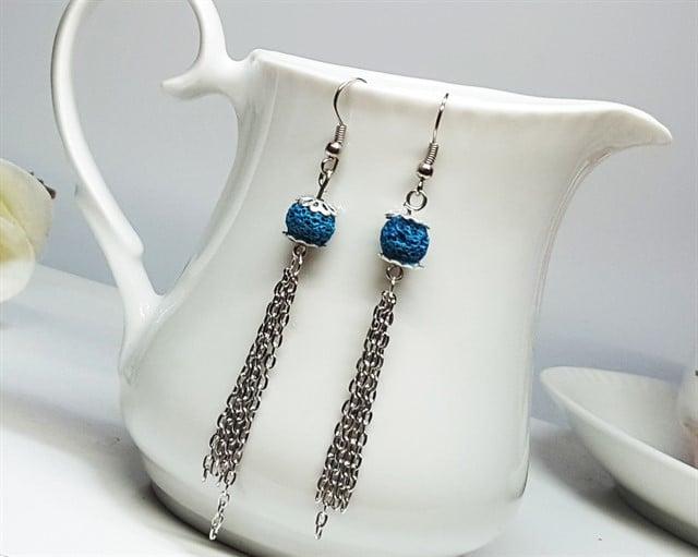 עגילי טוף כחול-טורקיז ארוכים