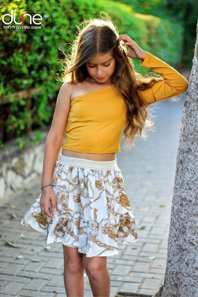 חצאית לבנה כיווצים