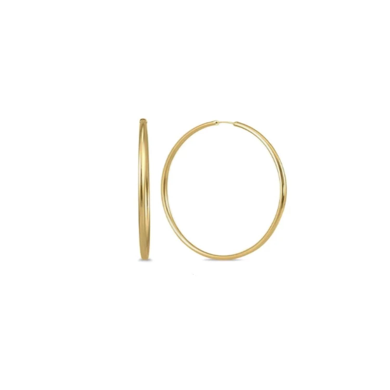 עגילי זהב חישוק לאישה בקוטר 4.0 סמ