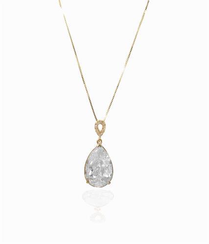 שרשרת ותליון זהב טיפה יהלומים וזרקון