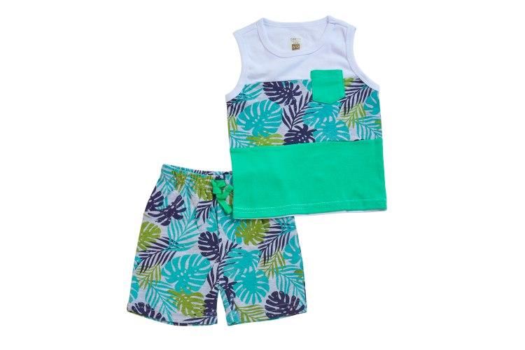 חליפת גופייה טרופית לבן+ירוק