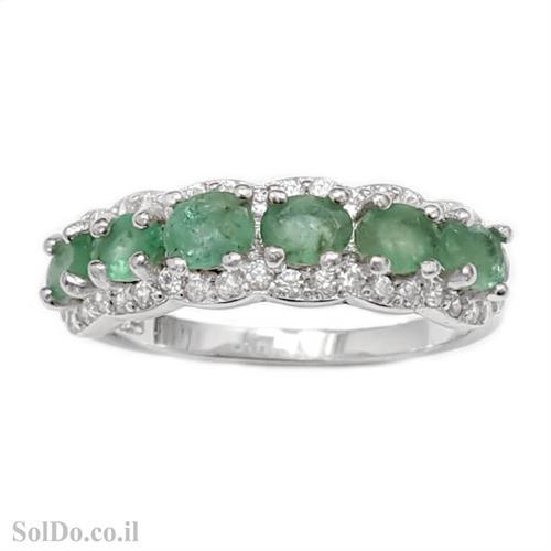 טבעת מכסף משובצת אבני אמרלד וזרקונים RG8714 | תכשיטי כסף 925 | טבעות כסף