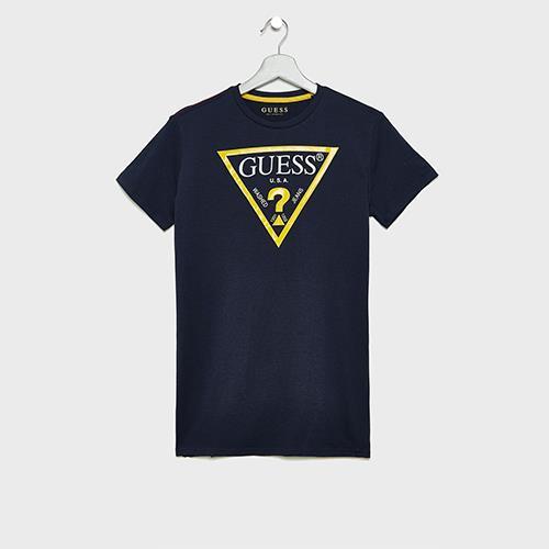 טי שירט כחולה GUESS לוגו צהוב - 2-7