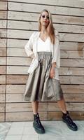 חצאית מניילון יפני - ברונזה