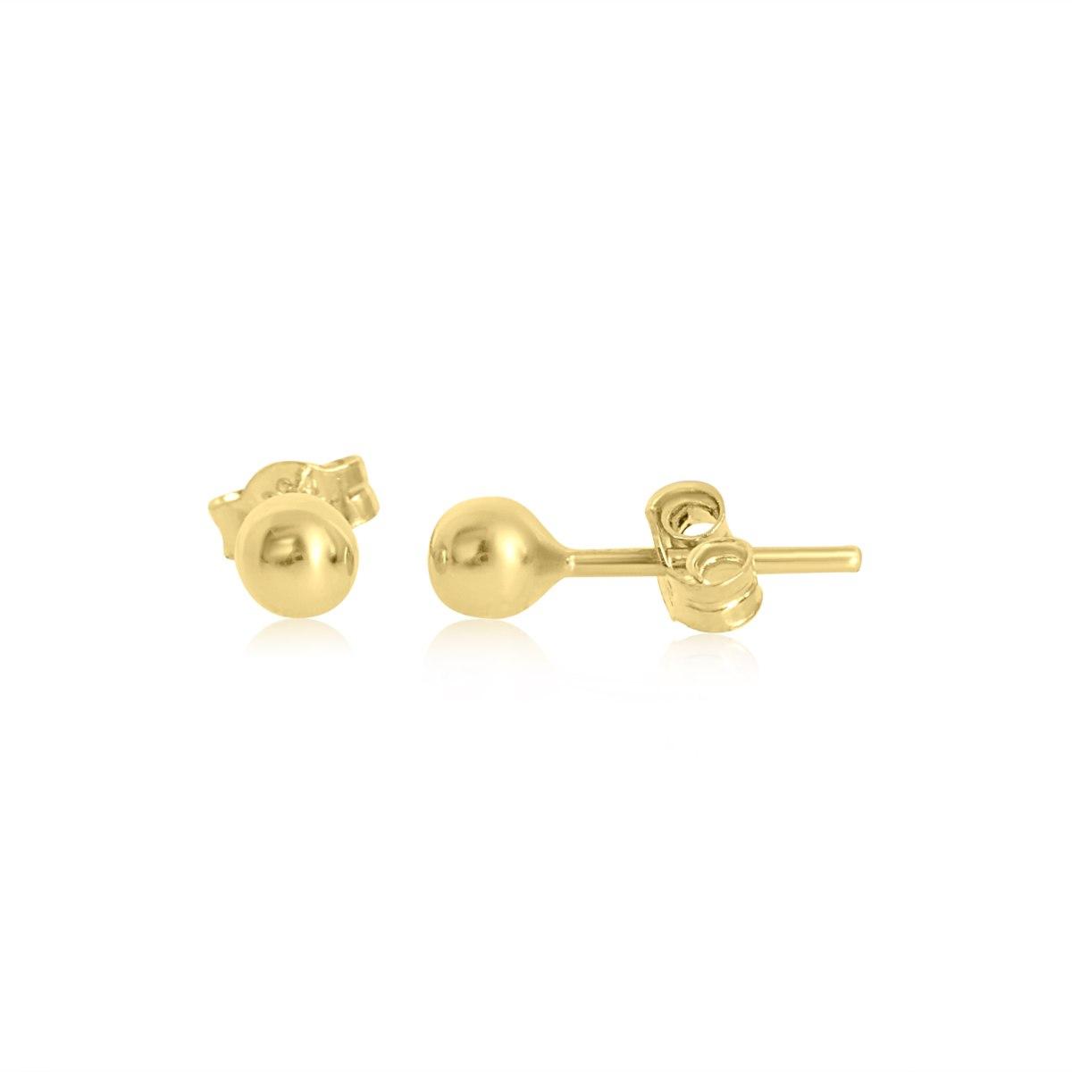 עגילי זהב כדורים צמודים