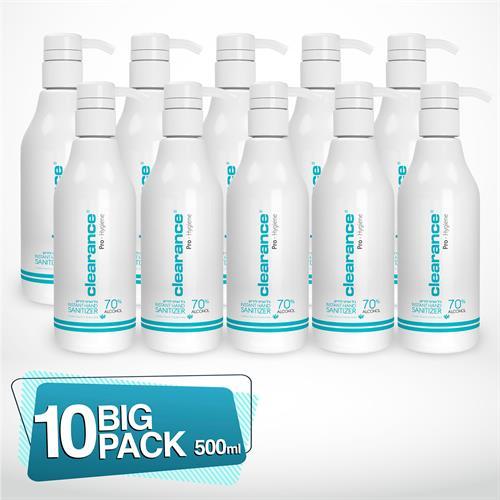 אלכוג'ל 500ML של חברת CLEARANCE מכיל 70% אלכוהול בתוספת ויטמין E, תמצית אלוורה בבקבוק מהודר