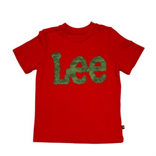 טי-שירט אדומה כיתוב ירוק צבאי - LEE