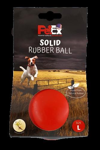צעצוע לכלבים - כדור גומי קופצני ודחוס בצבע אדום ניחוח וניל גודל L