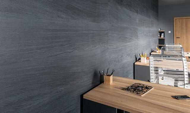 חיפוי קירות פולימרי 100% עמיד במים Kerradeco דגם ''WOOD CARBON''