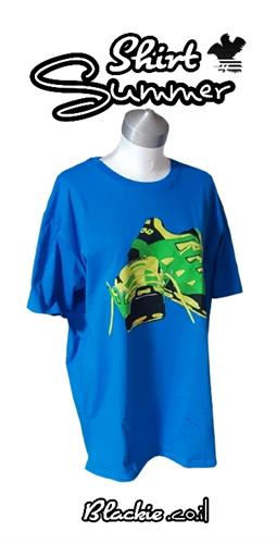 """חולצה כחול רויאל לקיץ הדפס גראפי """"דריכה"""""""