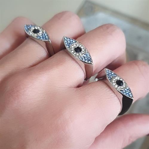 טבעת כסופה עין משובצת