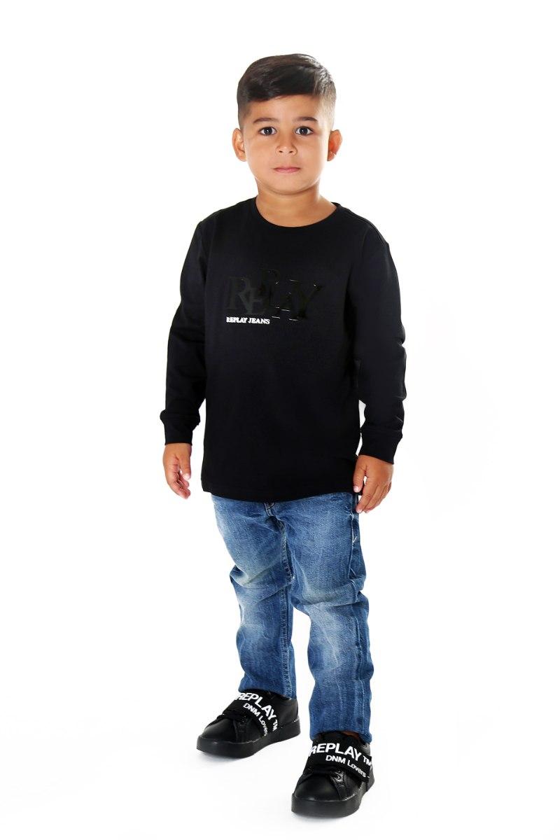 חולצת T שחורה כיתוב שחור REPLAY