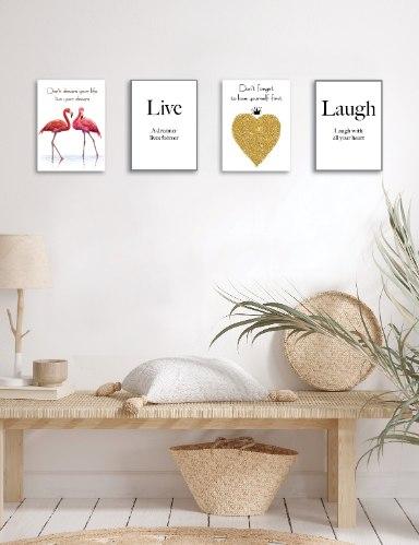 רביעיית תמונות השראה לצחוק, לב זהב, זוג פלמינגו והמילה לחיות, דגם 5