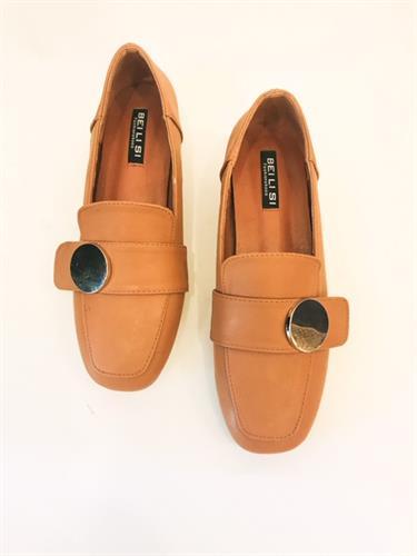 נעלי מוקסין אבזם עגול כאמל