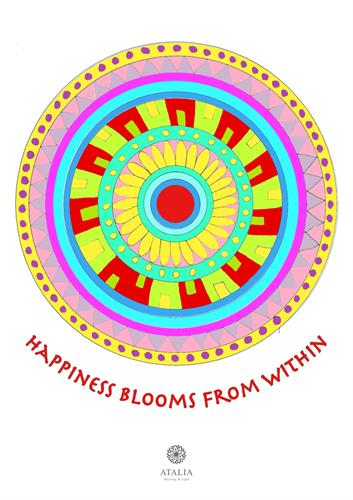 דפי מנדלות לצביעה - HAPPINES BLOOMS FROM WITHIN
