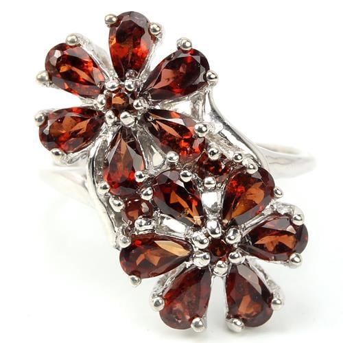 טבעת פרחים משובצת אבני גארנט אדום RG6661