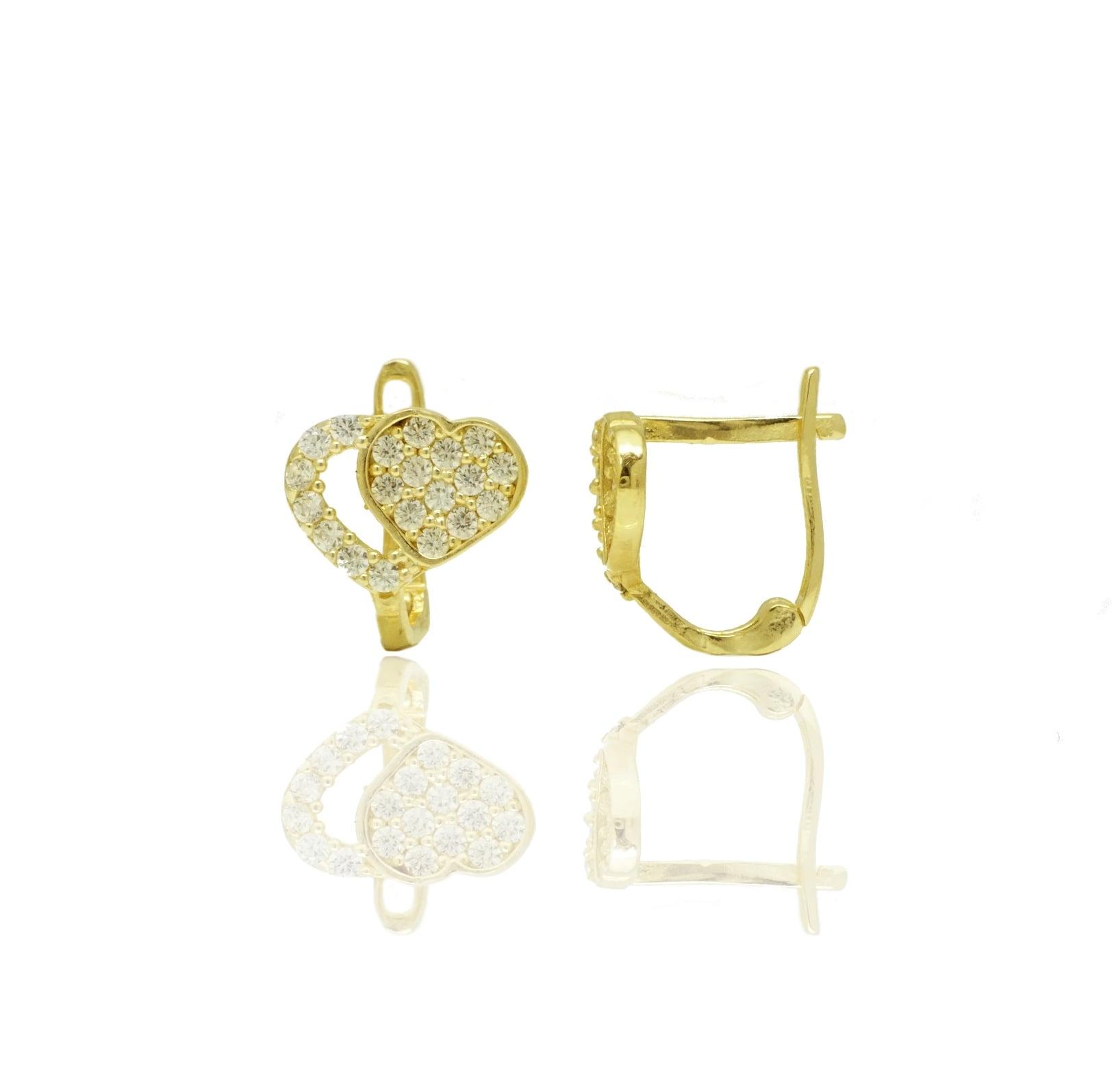 עגילי זהב לבבות נתלים משובצים זרקונים בזהב 14 קאראט