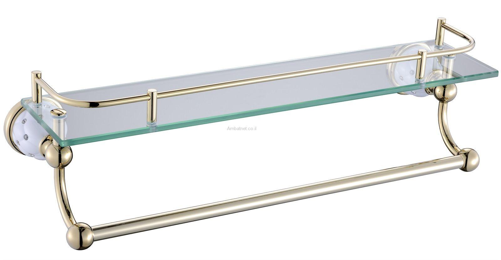 מדף זכוכית לבן דאימונד זהב
