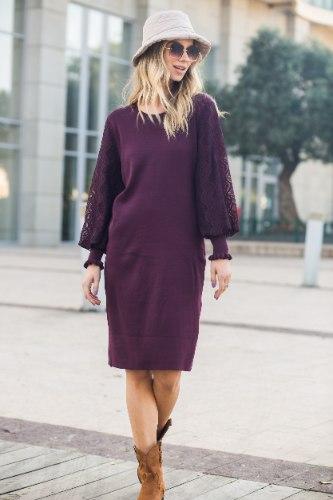 שמלה שילוב שרוול תחרה