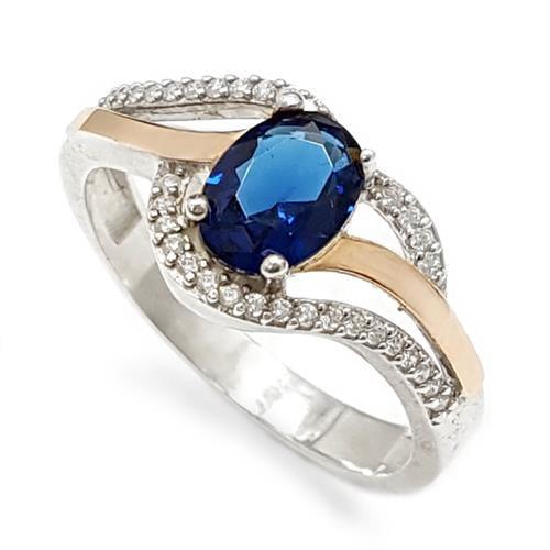 טבעת כסף מצופה זהב 9K משובצת זרקון כחול ואבני זרקון נוצצות  RG5962 | תכשיטי כסף | טבעות כסף